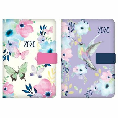 2020 A6 Day to Page Diary Index Floral Fabric Organiser Appointment Magnet Clip
