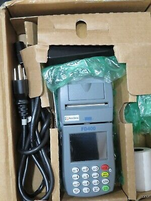 New First Data FD-400 Point of Sale Credit Card Machine with Power Cord & Paper