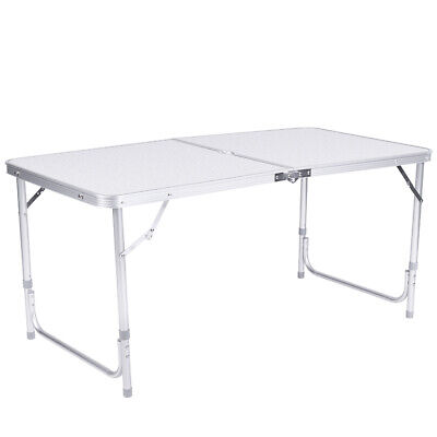 Heavy Duty Foldable Camping Home Table Trestle Aluminum Picnic Bbq Garden 4Ft