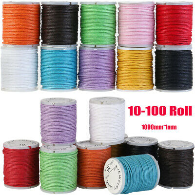 10m 10-100 Roll Round Waxed Cotton Cord String Jewellery Bracelet DIY Making 1mm