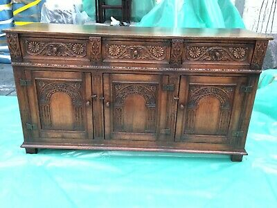 Stunning Handmade Titchmarsh & Goodwin Carved Solid OAK Sideboard Cabinet
