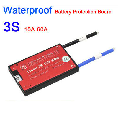 Waterproof 3S 12V 10A-60A Li-ion lithium battery Protection Board w/ balance BMS