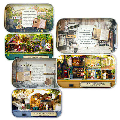 6 Themes DIY Mini-Tin Box Theatre Dolls-House Dollhouse Miniature Kits Toy-Gift