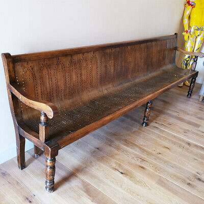 Large Antique Oak Framed Railway Station Bench/Seat - French Salvage