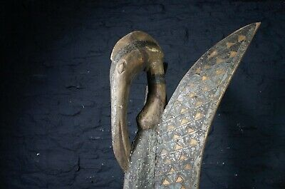 Vintage African Art ~ Large Carved Wooden Mythical Bird Statue from Sierra Leone