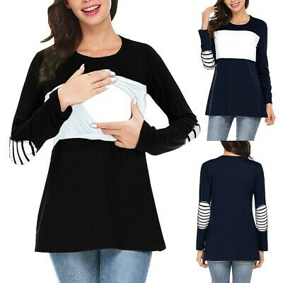 Women Maternity Long Sleeve Striped Nursing Tops Breastfeeding T-shirt Blouse