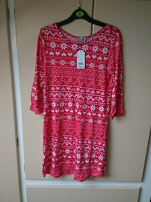 Bnwt Ladies/Girls Christmas Dress, Red/white Size Small George