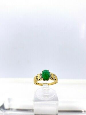 Vintage 14k Yellow Gold Natural Carved Cabochon Emerald & Diamond Ring