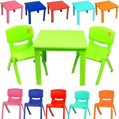 Childrens Kids Plastic Chair and Tabel Nursery Garden Sets Outdoor Staudy Table