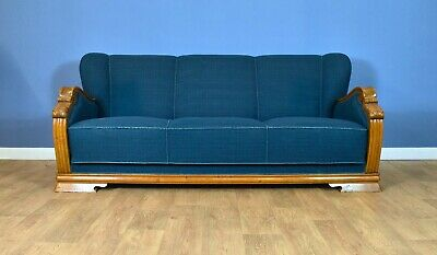 Mid Century Art Deco Vintage Danish Teal Blue Wool & Oak 3 Seat Sofa Settee 30s