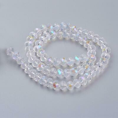 AB Crystal Clear Faceted Rondelle Glass Beads 8 x 6mm 1 Strand 70 Pieces AB01