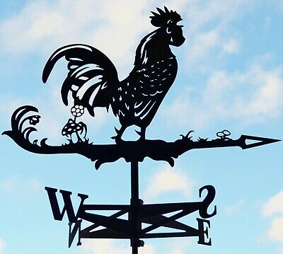 Rooster Chicken Metal Weathervane Roof Mount Wind Decor