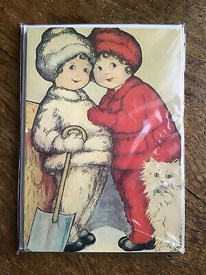Vintage Design Twin Girls And White Cat Christmas Cards Pack Of 5