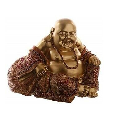 Chinese Laughing Fat Buddha Figurine Ornament 12cm Statue Brown Gold Effect New