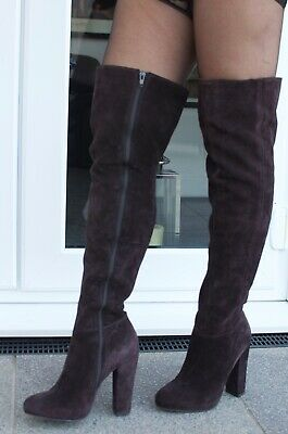 RRP £180 CARVELA KG WHISPER SIZE 5 OR 7 BLACK FX SUEDE OVER KNEE THIGH BOOTS NEW