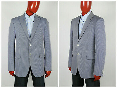 Mens Tommy Hilfiger Blazer Jacket Two Button Tailored Striped Blue Size S