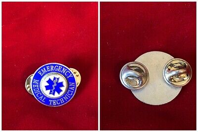 Emergency Medical Technician Dual Cloisonne Post Lapel Tie Pin Rod Asclepius 1""