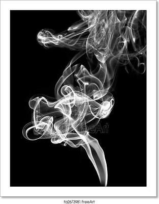 White Smoke Abstract On Black Art Print Home Decor Wall Art Poster - E