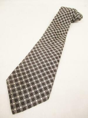 Vintage 70's St Michael Mens Tie Dark Brown Check Pattern Kipper Retro