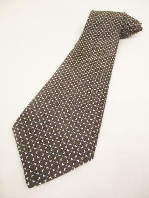 Vintage 70's St Michael Mens Tie Dark Brown & Blue Dot Pattern Kipper Retro
