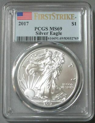 2017 American Silver Eagle $1 Dollar Coin Pcgs Mint State 69 First Strike Ms 69