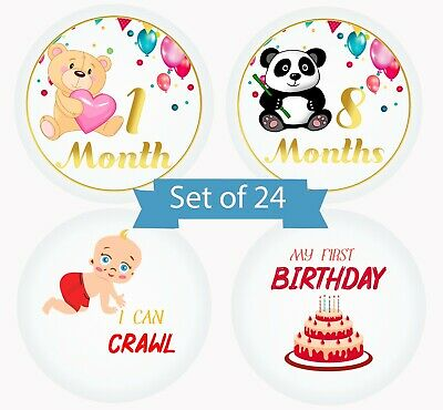 Baby Milestone Monthly Stickers Animals Designs by Serene Selection, 24 Premium