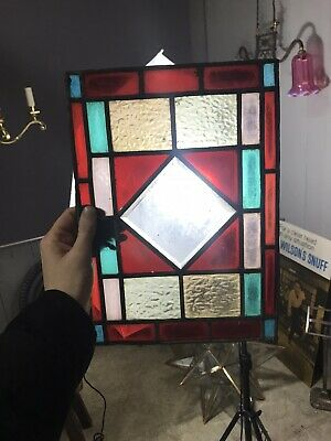 4 Vintage Leaded Stained Glass Panes