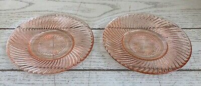 """Vintage Lot of TWO Pink Depression Glass Swirl Pattern Saucer Plate 6"""" Hocking??"""