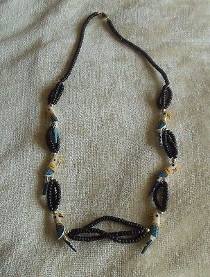 Vintage Parrot/Bead Hand Painted Wood Necklace W/Barrel Clasp
