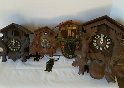 Vintage Hubert Herr & Germany 4 Cuckoo Clock Clocks Parts Only