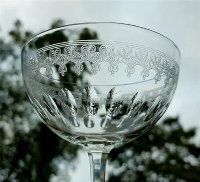 Beautiful Antique 19Th Century Victorian Etched And Cut Champagne Glass Saucer