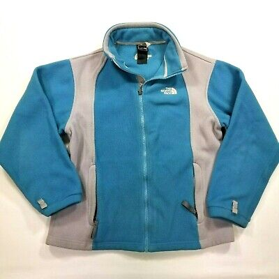THE NORTH FACE Girls Large Fleece Full Zip Jacket Teal Blue Gray