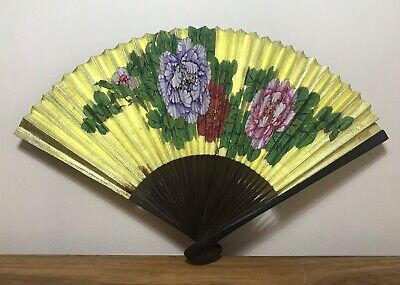 Vintage Oriental Hand Held Fan In A Fabric Box Floral Design Asian Collectable
