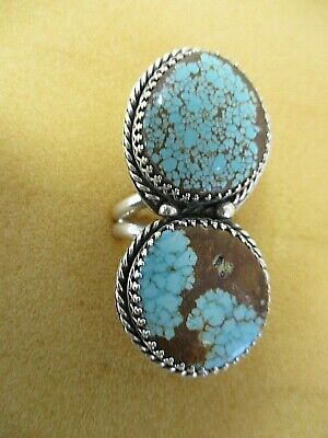 Solid Sterling Silver Native American Huge 2-stone Turquoise Ring Signed