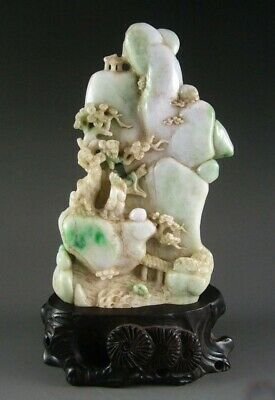 Antique Chinese Natural Apple Green Jade Carved Mountain Landscape Statue