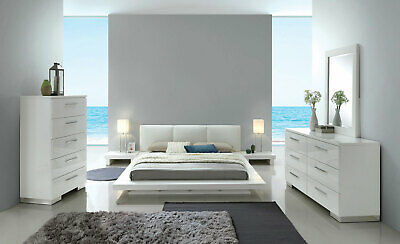 Contemporary White Lacquer Bedroom Furniture 5pcs King