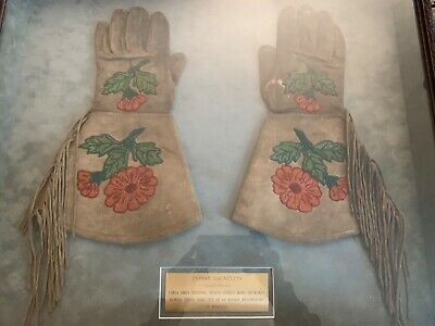 Native American Indian Beaded Gauntlet Gloves Framed 1880's