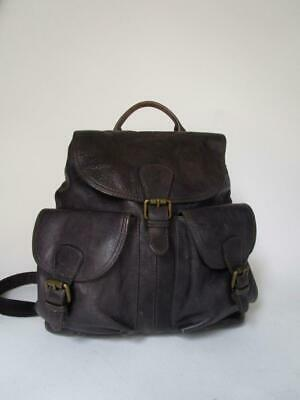 FOSSIL Rare Dark Brown DISTRESSED Leather Convertible Backpack Messenger Bag