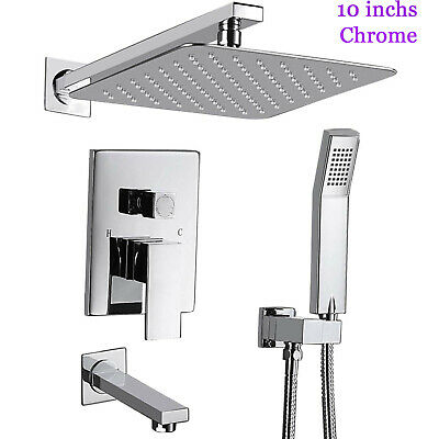 "Wall Mounted Shower Faucet Set Valve with Tub Spout and 10"" Rainfall Shower Head"
