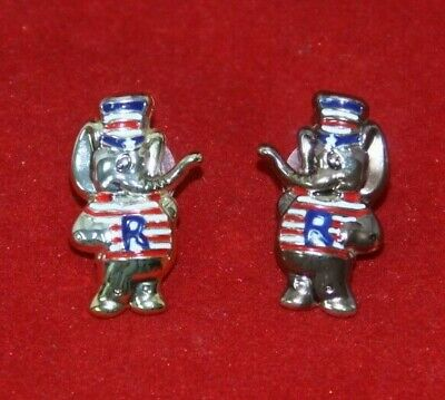 Lot of 2 Republican GOP red white blue Elephant lapel pins Rare style