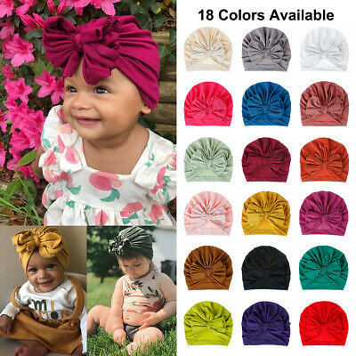 Newborn Baby Bowknot Beanie Toddler Kids Head Wrap Soft Cotton Caps Unisex Caps