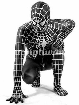 100% Latex Rubber Fancy Dress Cosplay Spider Man Catsuit Tights Size XXS-XXL
