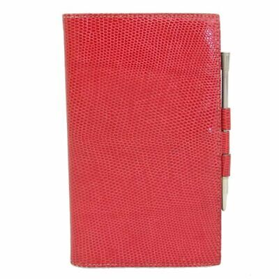 HERMES Agenda PM Schedule Organizer Cover Lizard Skin Red □ A engraved