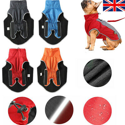 UK Reflective Waterproof Dog Coats Winter Warm Padded Pet Puppy Clothes Jacket