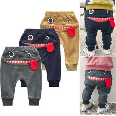Kids Girls Toddler Boys Trousers Cartoon Shark Tongue Cotton Harem Long Pants