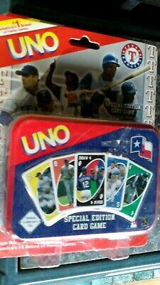 NEW TEXAS RANGERS SPECIAL EDITION UNO CARD GAME sealed set with tin free ship