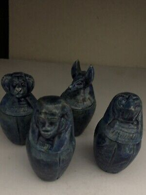 Ancient Egyptian  Set Of 4 Canopic Jars (old Kingdom)