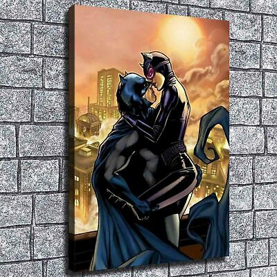 "12""x18""Batman and catwoman kiss HD Canvas prints Painting Home decor Room Wall"