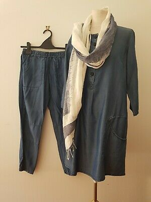 See Saw Blue 3 pc Tencel Tunic, Pants & Scarf  Sz 8 As New