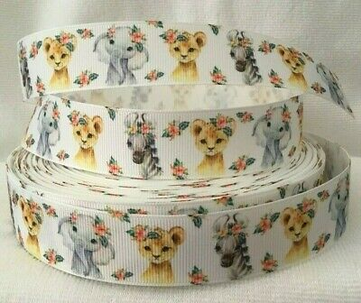 """Cute Animal Grosgrain Ribbon 1"""" wide sold by 2m -Craft - Dummy clips etc"""